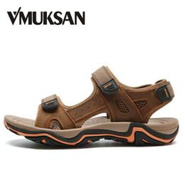 Wholesale Canvas Beach Shoes For Men - VMUKSAN Hot Sale Men's Sandals Size 38-45 Fashion Casual Beach Shoes For Man Summer Breathable Split Leather Men Beach Sandals