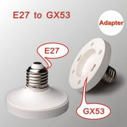 lamp gx53 Coupons - E27 to GX53 lamp holder adapter gx53 light socket led light base holder White Surface Fitting Connector bases