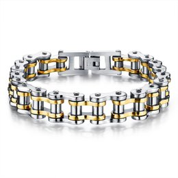 Wholesale Titanium Steel Bicycle Chain - Bike Bicycle Chain Link Bracelets For Men Stainless Steel Chunky & Two Tone 21.5CM Long Male Jewelry Gift