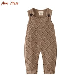 infant baby overall Coupons - Khaki Baby Overalls Baby Knitted Romper Sleeveless Cotton Plaid Overall Infant Onesie Playsuit