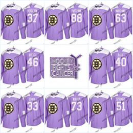 Youth 37 Patrice Bergeron Purple Fights Cancer Practice Boston Bruins 88  David Pastrnak 33 Zdeno Chara 63 Brad Marchand Hockey Jerseys 49e4f1478