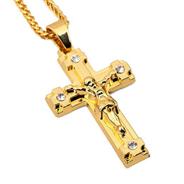 Wholesale big pendent - Fashion Jesus Cross Hip Hop Jewelry Big Pendent Chain Man Necklace Punk High Quality Stainless Steel For Men Gold