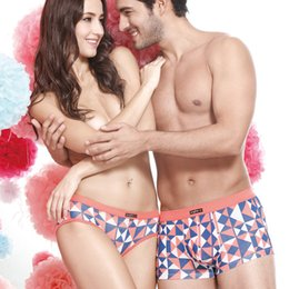 Wholesale Sexy Couple Underwear - New High Quality Cotton Couples Underwear Soft Underpants Lovers Tamptation Sexy Panties Men Woman Boxers rhinoceros cuecas