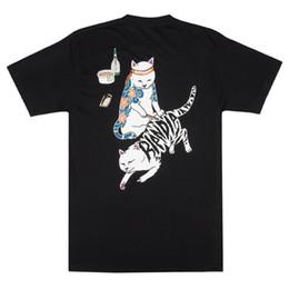 """Tatuagem dos homens camisetas on-line-RIPNDIP """"Tattoo Nerm"""" Tee manga curta (preto) gato dos homens de moda O pescoço Impresso mens Cotton T-shirt em torno do pescoço do homem"""