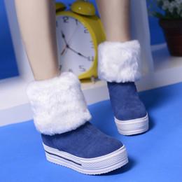 Wholesale gold muffin - Flatforms Elevator Muffin Bottom Snow Boots Women Shoes Faux Fur medium-leg Size 9 Fall Autumn Winter Platform Womens Boots