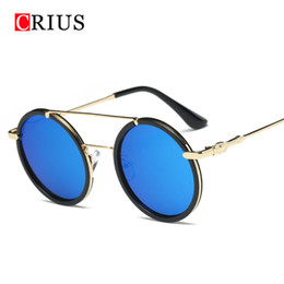 beam sunglasses Coupons - H Brand CRIUS New Colorful round women's sunglasses personality Double beam sunglasses women vintage alloy frame glasses Anti-UV