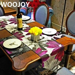 Wholesale Purple Table Runners Wholesale - High quality European style purple embroidery floral table runner home decoration table decoration cloth