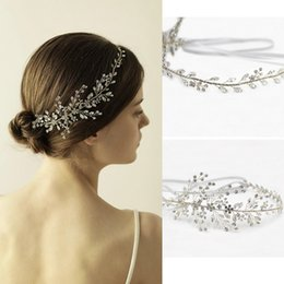 Wholesale Country Ceramics - Luxury Rhinestone wedding hair Combs Hair accessories Silver Clear Crystal Leaf Bride Headpiece Bride Tiara Jewelry For Beach Country Bride
