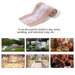 Wholesale Lace Chair Sashes Wholesale - Vintage Jute Burlaps With Lace Roll Wedding Decoration in Table Runner Party Chair Sashes Home Decoration 240x15cm GGA98 10PCS
