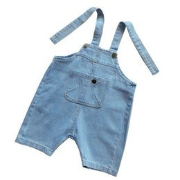 Wholesale girl kid overall jeans - Girls Shorts Overalls Summer Pockets Denim Harem Pants New Arrival Solid Kids Shorts Jeans Overalls Casual Children Trousers