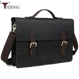 Cuoio marrone in pelle marrone online-Tiding Busines Laptop Briefcase Portafogli in pelle da uomo Borse a tracolla Messenger Satchel Handbag 14 '' Laptop Bag Brown