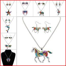 2019 placa de cangrejo Esmalte caballo elefante cangrejo estrellas de mar collar pendientes conjuntos de joyería colgantes para las mujeres plateado esmalte joyería regalo envío de la gota placa de cangrejo baratos