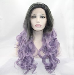 Wholesale Dark Purple Wigs - Fantasy Beauty Ombre Purple Synthetic Wigs For Women Long Wavy 2 Tones Wigs with Dark Roots Free Part Lace Front Wig Heat Resistant