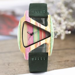 Wholesale women wooden watch - Natural Full Hand-made Bamboo Wooden Colorful Triangle Genuine Leather Strap Quartz No Number Creative Watch for Women Wristwatch Clock