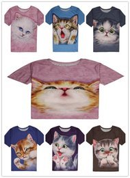 Wholesale temptation male - 2018 NEW The Mountain youth short-sleeved loose t-shirt male and female temptation cute cat print pattern