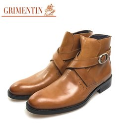 Wholesale italian shoe boots men - Fashion genuine leather men ankle boots Italian designer brown black men shoes for business office