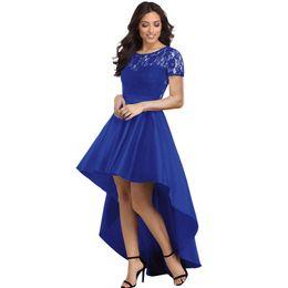 418f38a133 Women Party Gowns Royal Blue Lace Bodice Elegant Short Sleeve Hi-low Dress  Robe De Soiree Vestidos De Festa Longo