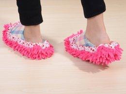Wholesale Slippers Set Mop - chenille shoes cover slippers set mop wigs clean shoes cover slippers Mops