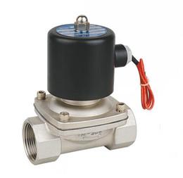 """válvula de bola de latón Rebajas Solenoide eléctrico normalmente cerrado BSP de acero inoxidable 304 de 1/2 """"12V CC"""