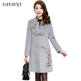 Wholesale Woolen Jackets For Women - Woolen Long Coat for Women Autumn Winter Wool Coat Jackets Overcoat Large Size Embroidered Long Sleeves Red Black Ladies Coats