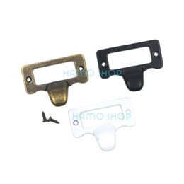 Wholesale Label Frame - 9pcs 48x38mm Mix 3 Colors Antique Drawer Label Pull Cabinet Frame Handle File Name Card Holder With Screw