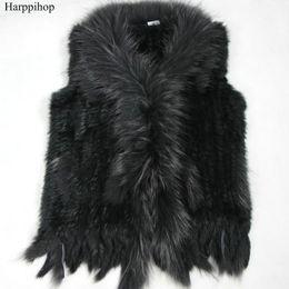 Wholesale Rabbit Fur Waistcoat - high quality Hot Sale Retail wholesale Raccoon Dog Fur Collar Trim Women Knitted Natural Rabbit Fur Vest Gilet waistcoat