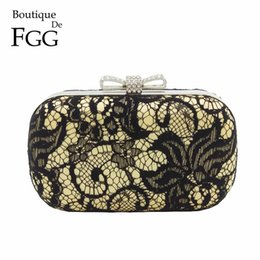 Wholesale Korean Evening Party Dress - Korean Brand Women Crystal Lace Satin Bow Metal Clutches Gold & Black Hard Case Evening Wedding Party Dinner Handbag Clutch Bag