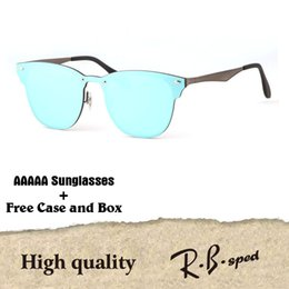 Wholesale flash alloy - Excellent quality Newest Fashion Traveller Style Rivets Sunglasses Men Women Brand design Mirror Flash Sun Glasses With Box and Cases
