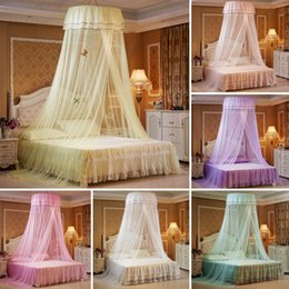 ivory lace bedding Promo Codes - Baby Princess Nets Hanging Round Lace Canopy Baby Bed Netting Comfy Infant Crib Netting for Crib Full Queen Bed Sleep