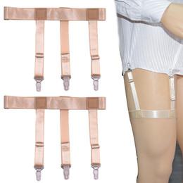 Wholesale Thigh Suspenders - Hot Sale Gentleman Leg Thigh Skin Color Elastic Garter Suspender Belt Shirt Stays Mens Shirt Garters Holder Suspenders