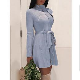inverno fantasia sereia Desconto Vestido de camurça de couro das mulheres de manga longa com cinto vestido outono 2018 moda faux camurça de couro vestidos de festa Elegante vestidos