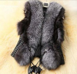 Chaleco de piel sintética online-Para mujer abrigo de piel de invierno chaleco chaleco de piel sintética Chaleco de piel de abrigo Chaleco de cuello de piel Chaleco Gilet Venta caliente veste