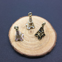 Wholesale 18k Gold Eiffel Tower Charm - Free Shipping 10pcs lot Fashion Design Gold Tone Eiffel Tower Enamel Charm Pendant For DIY Necklace Bracelet Keychain 10*24mm
