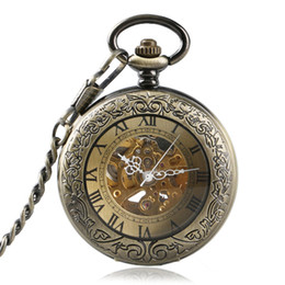 Wholesale Vintage Skeleton Automatic Watch - Vintage Transparent Cover Gold Steampunk Skeleton Automatic Mechanical Roman Numerals Compass Dial Pocket Watch Necklace Children Xmas Gift
