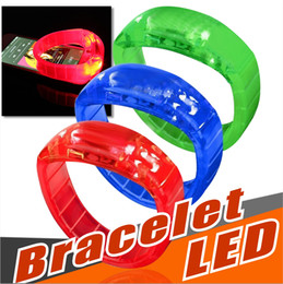 Wholesale music control light - Word Cup Music Activated Sound Control Led Flashing Bracelet Light Up Bangle Wristband Club Party Bar Cheer Luminous Hand Ring Glow Stick