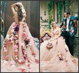 Wholesale online vintage wedding dresses - 2018 New Champange Flowers A Line Wedding Dresses One Shoulder Sweetheart Designer Wedding Gowns Online with Chapel Train vestidos de novia