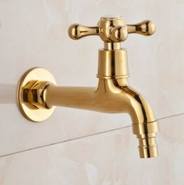 Wholesale Free Tapping Machines - Wholesale-Free Shipping Long Gold Plate Bathroom Washing Machine Tap Cold Water Bibcock bathroom faucet taps Golden finish Garden Faucet