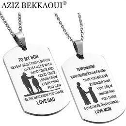 Wholesale Engraved Necklace Name - whole saleAZIZ BEKKAOUI TO MY SON Stainless Steel Pendant Necklaces Engrave Name Love Dad Mum ID Tag Necklaces Customized Logo Jewelry