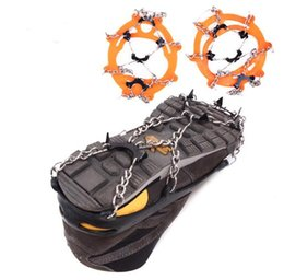 Wholesale wholesale spikes for shoes - 8 Teeth Outdoor Ice Snow Spikes Winter Ski Crampons for Climbing Mountaineering Anti Slip Shoes Grippers Claws Chains