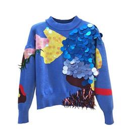 Suéter de mohair de industrias pesadas de lujo azul lentejuelas borla suéter de moda patchwork color suéter corto para mujeres desde fabricantes