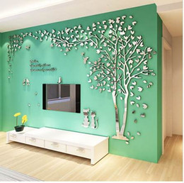 Wholesale Background Design For Tv Wall - New Sweet Doggy and Tree Design TV Background Wall Decorations Acrylic Wall Stickers