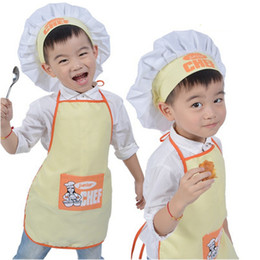 Wholesale Hat Cooks - 1 Set Polyester Kids Apron and Chef Hat Child Cooking Baby Apron Junior Chef Cook Painting Family Outings Supplies