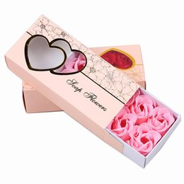 Wholesale Valentines Day Boxes - Fashion DIY Soap Flower Lifelike Valentines Day Hand Made 10 Rose Soaps Flowers For Birthday Gift With Retail Box 4 5mw B