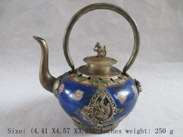 Wholesale Chinese Lion Art - Chinese ancient Tibet silver ceramic tea hip dragon lion monkey cover NR