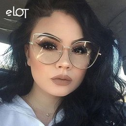c200a3f285 ELOT Vintage Fashion Ladies Cat Eye Glasses Women New Gold Frame Optical  Eyeglasses Brand Designer Big Glasses For Female UV400