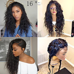 Wholesale Wig Dark Blonde - Free Shipping Top Quality Black Long Curly Wavy Wigs with Baby Hair Heat Resistant Glueless Synthetic Lace Front Wigs for Black Women