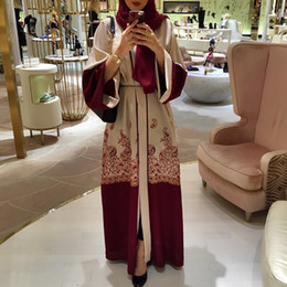 Abayas abertas on-line-Atacado Mulheres Muçulmanas Frente Abaya Aberto Vestido S-2XL Plus Size Floral Imprimir Mulheres Muçulmanas Kaftan Vestido
