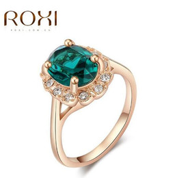 Wholesale Emerald Rings For Women - Elegant Green Rhinestone Rings For Women Rose Gold Plated Fashion Brand Crystal Imitation Emerald Gemstone Wedding Jewelry Girls