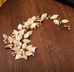 Argentina Hoja de oro Diadema Princesa Corona Reina Tiara Accesorios nupciales del pelo de la boda Banda del pelo de la perla Joyería Celada Prom Tocado del desgaste del oro Pin Suministro