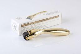 drs dermaroller sistema Desconto 600 agulhas dermaroller com cabo de Ouro DRS derma roller com cabeça intercambiável Derma Rolling System Microneedle